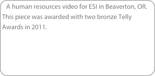 A human resources video for ESI in Beaverton, OR. This piece was awarded with two bronze Telly Awards in 2011.